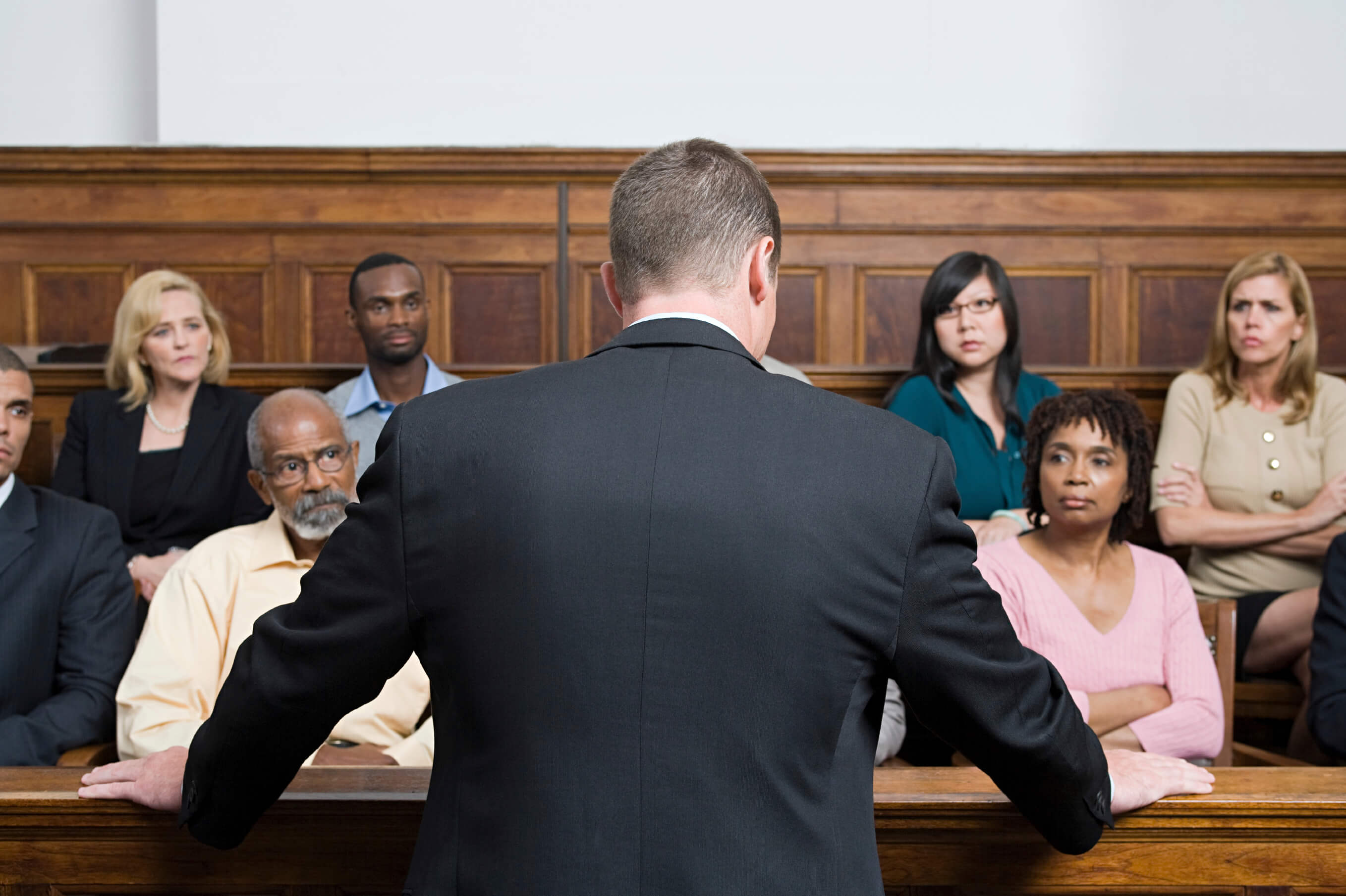 lawyer addressing a courtroom